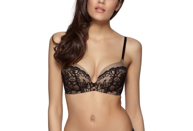 Gossard Super Smooth Glamour Lace Bügelloser Push-Up BH  Black/Nude 65D
