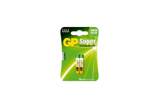 GP Batteriers Super Alkaline, AAAA / LR61 / MN2500 / 4061 / 4961 / LR8, 2er Blister