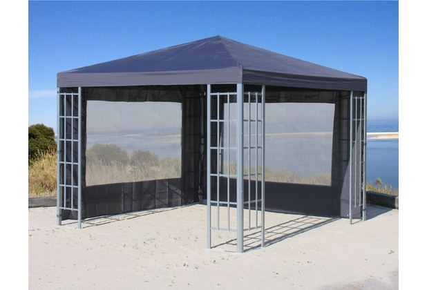 Grasekamp 2 Seitenteile Set mit PVC Fenster zu  Aluoptik Pavillon 3x3m Anthrazit Anthrazit