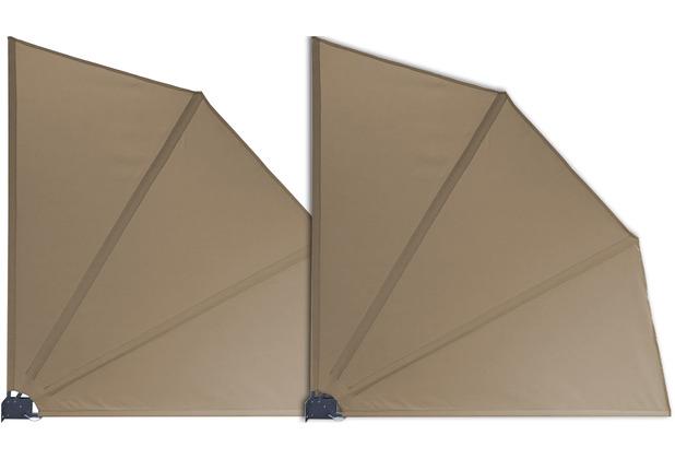 Grasekamp 2 Stück Balkonfächer 120 x 120 cm  Taupe mit Wandhalterung Schutzhülle  Trennwand Sichtschutz Braun