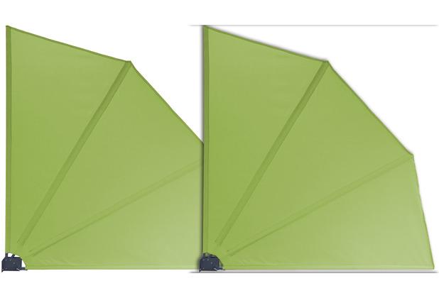 Grasekamp 2 Stück Balkonfächer Apfelgrün Premium 140 x 140 cm mit Wandhalterung Trennwand Sichtschutz Grün