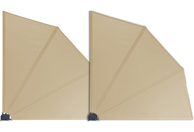 Grasekamp 2 Stück Balkonfächer Sand Premium  140 x 140 cm mit Wandhalterung Trennwand  Sichtschutz Beige