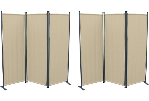 Grasekamp 2 Stück Paravent 3tlg Raumteiler  Trennwand Sichtschutz Beige Beige
