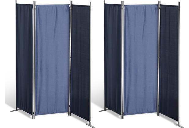 Grasekamp 2 Stück Paravent 3tlg Raumteiler  Trennwand Sichtschutz Blau Blau
