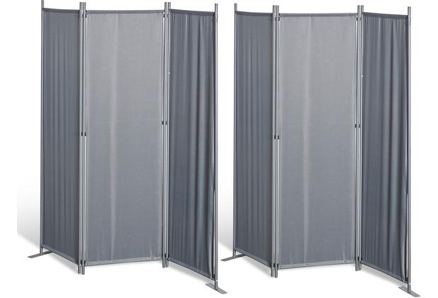 Grasekamp 2 Stück Paravent 3tlg Raumteiler  Trennwand Sichtschutz Grau Grau