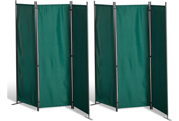 Grasekamp 2 Stück Paravent 3tlg Raumteiler  Trennwand Sichtschutz Grün Grün