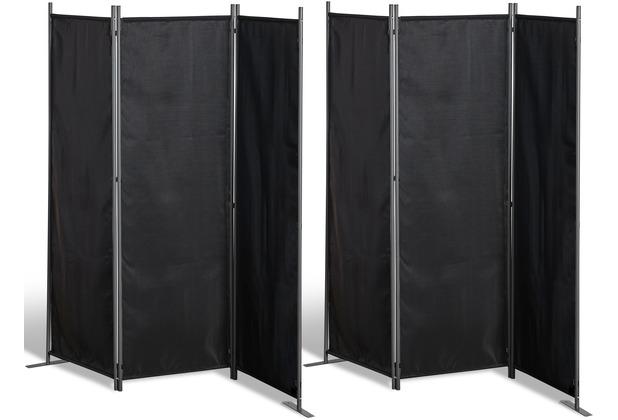 Grasekamp 2 Stück Paravent 3tlg Raumteiler  Trennwand Sichtschutz Schwarz Schwarz