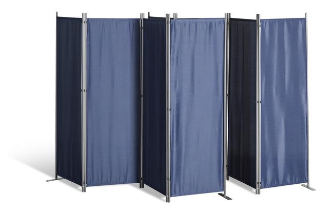 Grasekamp 2 Stück Paravent 4tlg Raumteiler  Trennwand Sichtschutz Blau Blau
