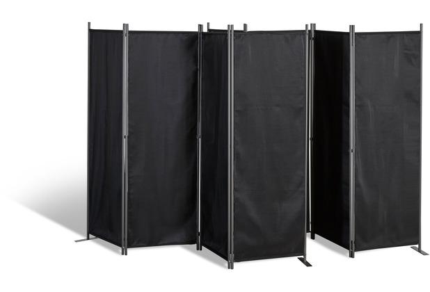 Grasekamp 2 Stück Paravent 4tlg Raumteiler  Trennwand Sichtschutz Schwarz Schwarz