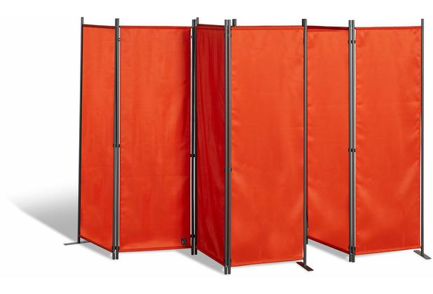 Grasekamp 2 Stück Paravent 4tlg Raumteiler  Trennwand Sichtschutz Terra Terrakotta