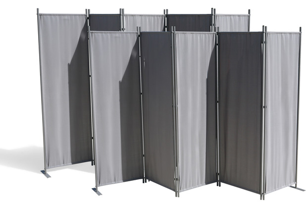 Grasekamp 2 Stück Paravent 5 teilig Grau  Raumteiler Trennwand Sichtschutz Grau