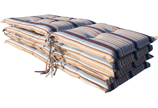 Grasekamp 4 Stück Auflagen Marine Kissen Polster Garten-Sessel Klapp-Stuhl blau