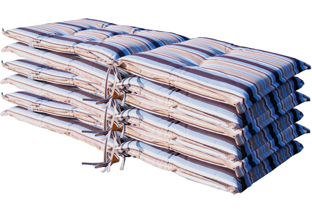 Grasekamp 6 Stück Auflagen Kissen Marine zu  Gartensessel Klappstuhl blau