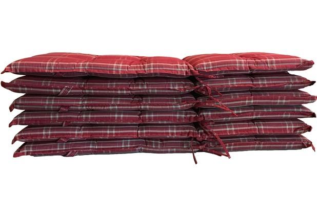Grasekamp 6 Stück Auflagen Rubin Kissen Polster  Klapp-Sessel Garten-Stuhl Rot