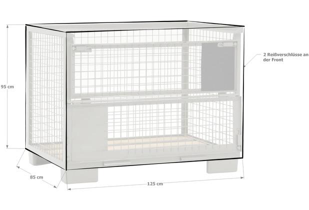 Grasekamp Abdeckhaube Gitterbox 125 x 85 x 95 cm  PVC Transparent mit Reißverschluss  wasserdicht UV stabil Transparent
