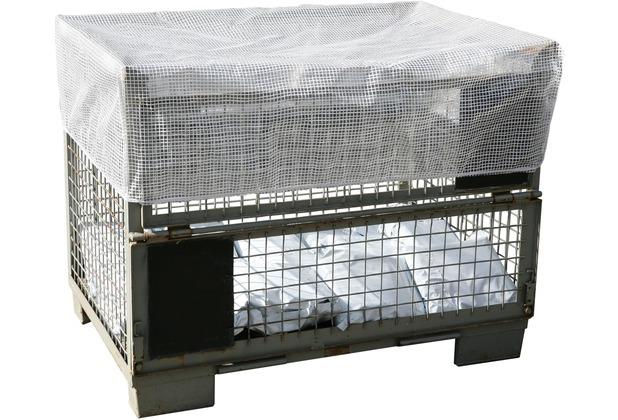 Grasekamp Abdeckhaube Gitterbox 127x87x30cm  Transparent mit Gummizug Schutzhaube  Abdeckplane Staubschutz Gittergewebe Transparent
