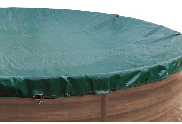 Grasekamp Abdeckplane für Pool rund 320cm  Planenmaß 380cm Sommer Winter Grün/Schwarz