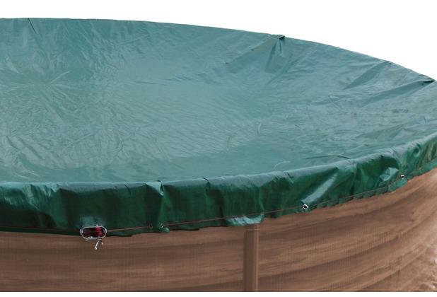 Grasekamp Abdeckplane für Pool oval 540x350cm  Planenmaß 600x410cm Sommer Winter Grün/Schwarz
