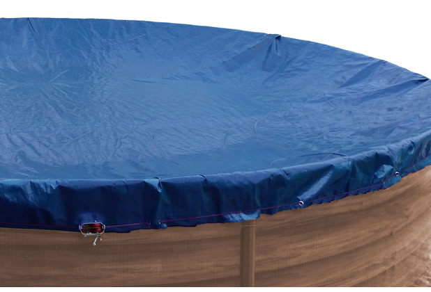 Grasekamp Abdeckplane Pool rund 500cm Royalblau  Planenmaß 560cm Sommer Winter Blau/Schwarz