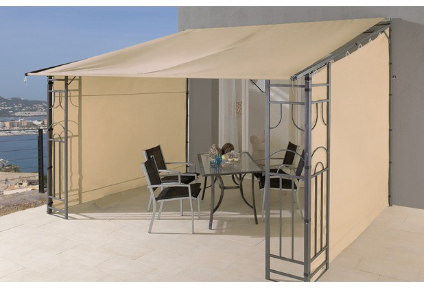 grasekamp anbaupergola markise rollo romana 3x4 meter sand sand. Black Bedroom Furniture Sets. Home Design Ideas
