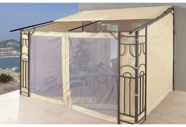 grasekamp anbaupergola markise rollo romana 3x4 meter sand sand ebay. Black Bedroom Furniture Sets. Home Design Ideas