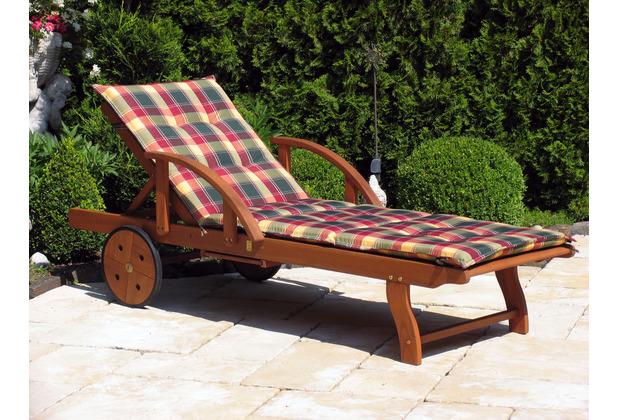 Grasekamp Auflage Gartenliege Karo Liegestuhl  Sonnenliege Relaxliege Grün