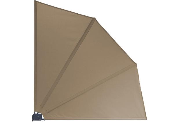 Grasekamp Balkonfächer Premium 140x140cm Taupe mit Wandhalterung Trennwand Sichtschutz Taupe