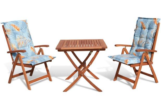 Grasekamp Balkonmöbelgruppe Santos Palmen Blätter  Blau 5tlg mit Klapptisch 80x80cm  Gartenmöbel Essgruppe Blau