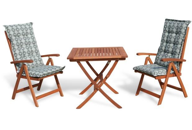 Grasekamp Balkonmöbelgruppe Santos Retro Grün  5tlg mit Klapptisch 80x80cm Gartenmöbel  Essgruppe Grün