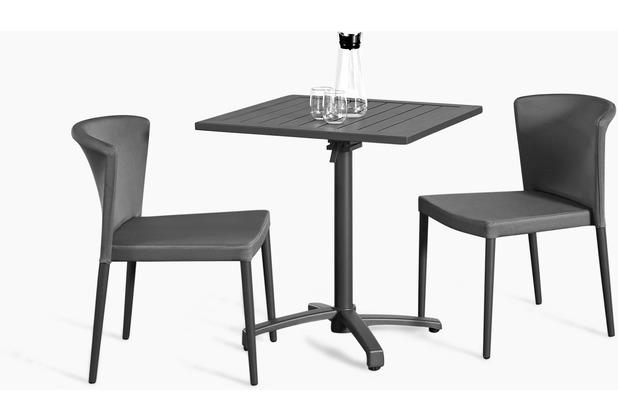 Grasekamp Balkonset Sol 3 teilig - 2x Stapelstuhl und Klapptisch aus Aluminium/Textilene Anthrazit