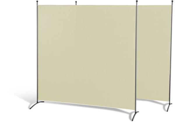 Grasekamp Doppelpack Stellwand 180x180 cm - beige  - Paravent Raumteiler Trennwand  Sichtschutz Beige