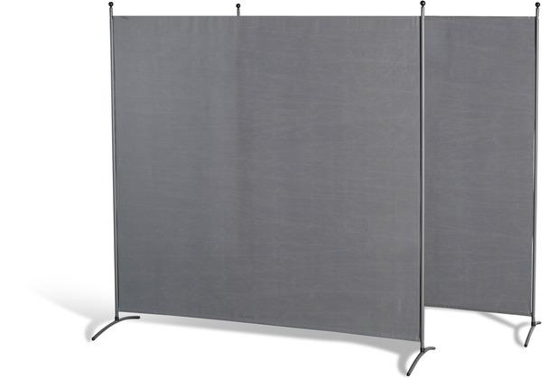 Grasekamp Doppelpack Stellwand 180x180 cm - grau - Paravent Raumteiler Trennwand Sichtschutz Grau