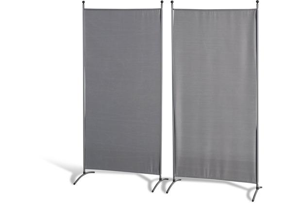 Grasekamp Doppelpack Stellwand 85x180 cm - grau -  Paravent Raumteiler Trennwand  Sichtschutz Grau