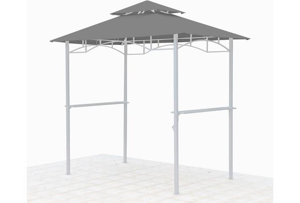 Grasekamp Ersatzdach für BBQ Grill Pavillon  1,5x2,4m Grau Unterstand Doppeldach  Gazebo Grau