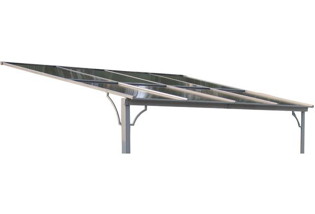 Grasekamp Ersatzdach Terrassendach Hardtop Anbau Pergola 3x3,6m Doppelstegplatten Polycarbonat Carport Braun