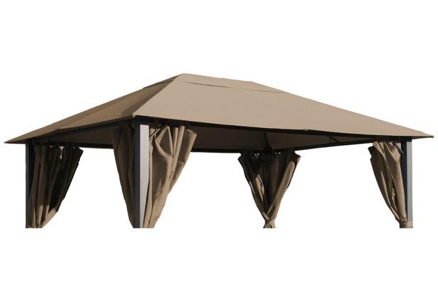 Grasekamp Ersatzdach zu Pavillon Paris 3x4m Taupe  Plane Bezug Gartenpavillon Taupe
