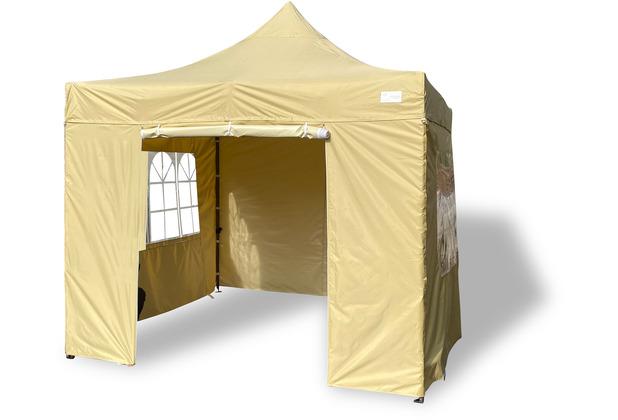 Grasekamp Faltpavillon Modena 3x3m beige inkl.  Seitenteile - extra starkes Gestell beige