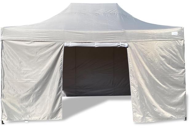 Grasekamp Faltpavillon Modena 3x4,5m grau inkl.  Seitenteile - extra starkes Gestell grau
