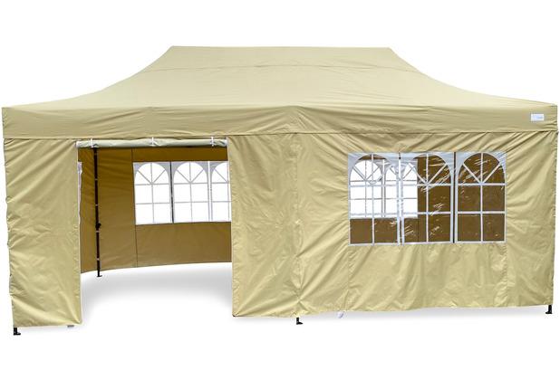 Grasekamp Faltpavillon Modena 3x6m beige inkl.  Seitenteile - extra starkes Gestell beige