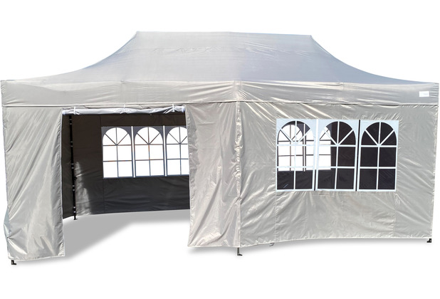 Grasekamp Faltpavillon Modena 3x6m grau inkl.  Seitenteile - extra starkes Gestell grau