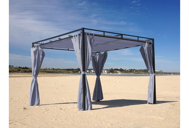 grasekamp flachdach pergola firenze 3x3 meter grau terrassen dach carport gazebo grau. Black Bedroom Furniture Sets. Home Design Ideas