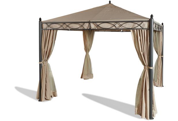 Grasekamp Garten-Pavillon ROM 3x3m mit 2 Seitenteil Sets geschlossen mit Moskito Netz Party-Zelt Beige