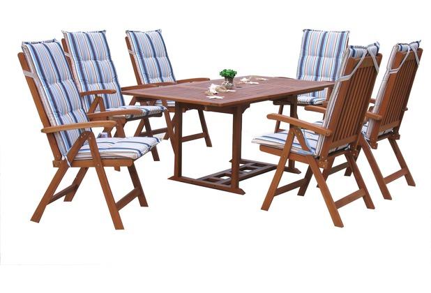 Grasekamp Garten Möbelgruppe Cuba 13tlg Marine mit  ausziehbaren Tisch Akazienholz Natur/Marine