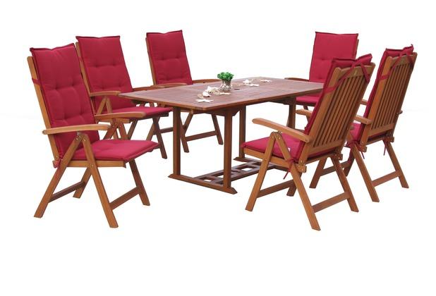 Grasekamp Garten Möbelgruppe Cuba 13tlg Rubinrot  mit ausziehbaren Gartentisch Akazienholz Rot