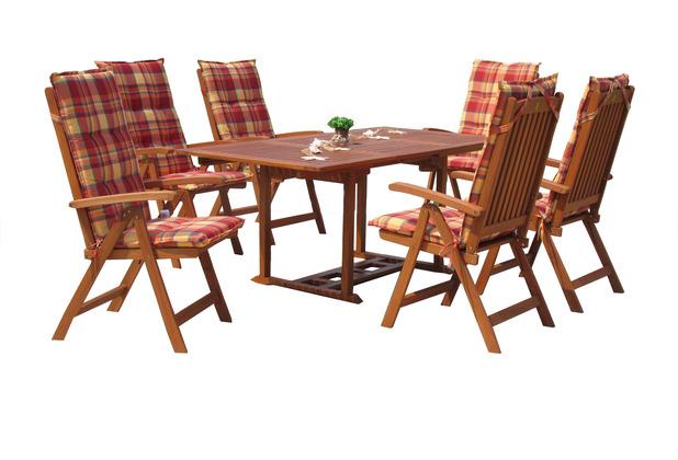 Grasekamp Garten Möbelgruppe Cuba 13tlg Sunshine  mit ausziehbaren Gartentisch Akazienholz Bunt