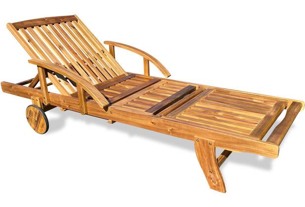 Grasekamp Gartenliege Belmonte 190cm Akazie Natur  Liegestuhl Sonnenliege Relaxliege naturfarben