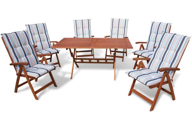 Grasekamp Gartenmöbel 13tlg mit 160cm Klapptisch  Terrassenmöbel Santos Marine Natur