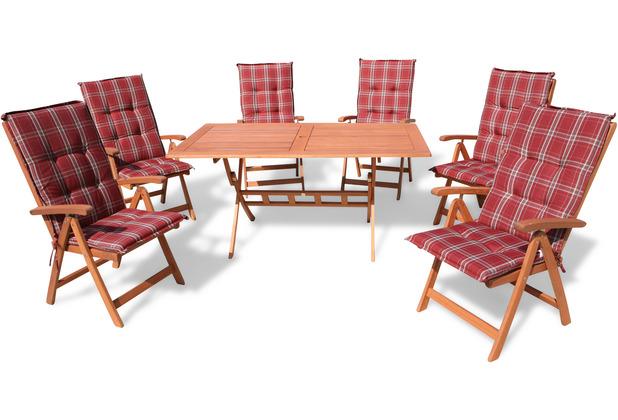 Grasekamp Gartenmöbel 13tlg mit 160cm Klapptisch  Terrassenmöbel Santos Rubinrot Rot