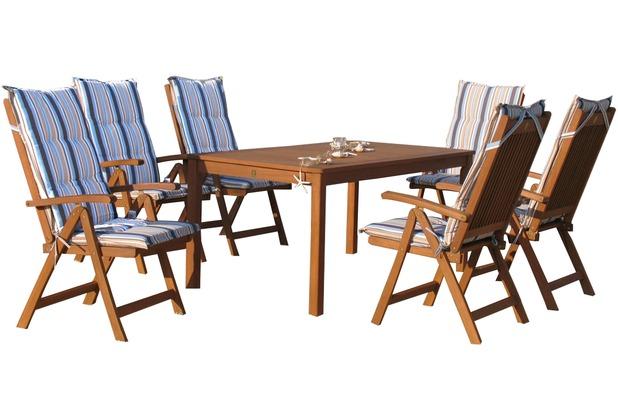 Grasekamp Gartenmöbel 13tlg mit 160cm Tisch  Terrassenmöbel Santos Marine Natur/Marine