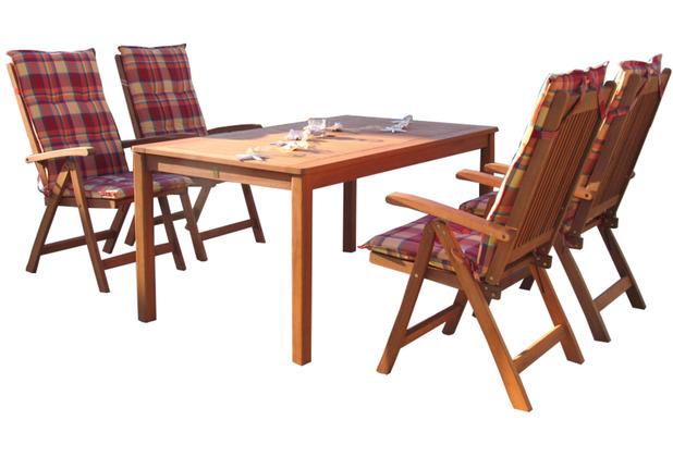 Grasekamp Gartenmöbel 9tlg Sunshine mit 160cm  Tisch Balkonmöbel Sitzgruppe Santos Natur/Sunshine